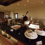 Open kitchen for fresh food orders at breakfast buffet