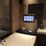 soaking tub with TV.  nice shower in addition with rain shower fixture as an option.