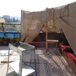 Pasha's roof with bedouin tent (and a barbecue tray...)
