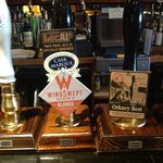 closer view of hand pumps for real ales