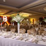 Table setting in ballroom