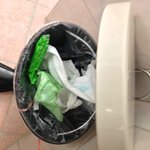 sanitary napkins left in the trash can