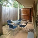 Outdoor patio area devoid of any 'resort' like features