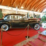 View of an antique car in the lobby