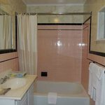 Pink-tiled bathroom