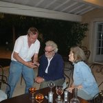 sharing an evening wine with David & Marianne in outside dining area