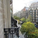 Looking  down  the  Rambla  de Catalunys  from  the  balcony  of Room 205