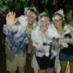 Girls covered with  Foam