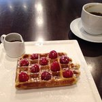 Raspberry waffle without the whipped cream & large coffee