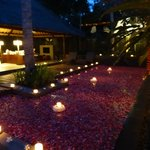 Decorated pool for romantic dinner