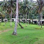 View of the Aircon bungalows in the coconut plantation