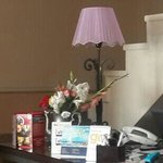 flowers in the reception desk