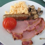 My full English with my requested scrambled eggs and no beans :)