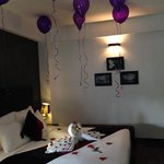 the room decked out for our anniversary. thanks guys x