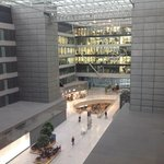 View of the New Work Courtyard at the Frankfurt Airport from the Hilton Garden Inn Hotel.