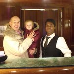 Addison with her Daddy and her favourite staff member, Arun!