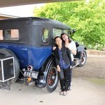 claudia and nat with the vintage car.