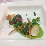 lamb with pea puree and parsnips