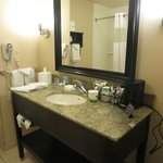 Vanity in bathroom--plenty of space for cosmetics
