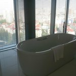 Bathtub overlooking the city