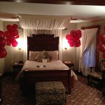 40 balloons awaited us on our 40 anniversary. Jake's Room.