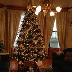 Main building parlor beautifully decorated for Christmas.