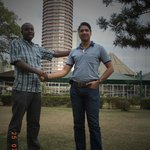 In this photo is david and major savi during our visit of kicc building where we had a wide view