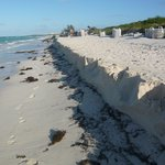Beach eroded in places