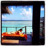 View from our water bungalow...beautiful!
