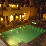 Courtyard pool/spa area at night