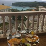 A very tasty breakfast on the balcony with a great view of Valtos Beach