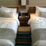 Twin beds with 3 pillows each