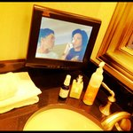 TV set up in bathroom