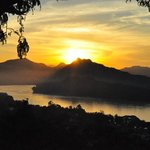 Sunset over the Mekong from Phousi hill.