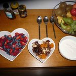 Fresh fruit, nuts and yoghurt