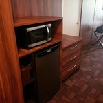 Microwave, fridge, and coffee maker