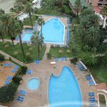 View from lift over pool area