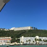 Resort building from ferry to Palomino island