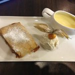 Apple & Pear strudel, ice cream and custard.