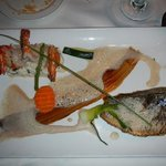 the special that night. vanillia foam. sea bass yum