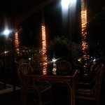 outdoor seating at night