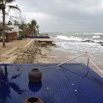 Beach taped off after typhoon damage