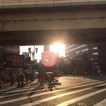 Sunset view from Exit 5, Namba Station (Midosuji Line, Red)