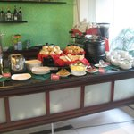 One of the breakfast buffet table