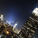 Rooftop night view of Manhattan