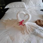 towels and heart lollys left on bed...