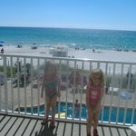 twin daughters on balcony