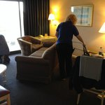 maintenance and housekeeping cleaning up AFTER my check-in