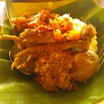 Nasi gudeg with chicken leg and egg