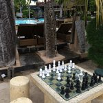 chess set at pool